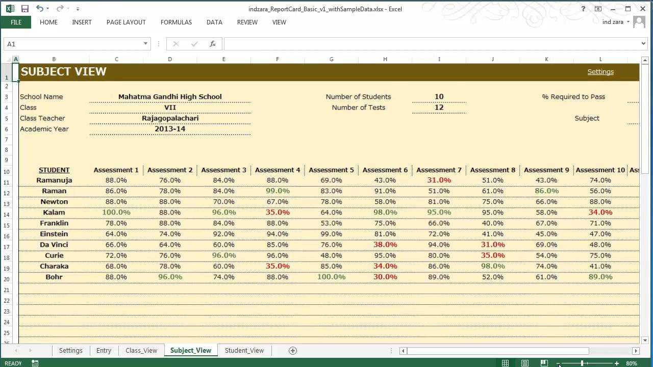 Report Card (Basic) - Excel Template Within Result Card Template