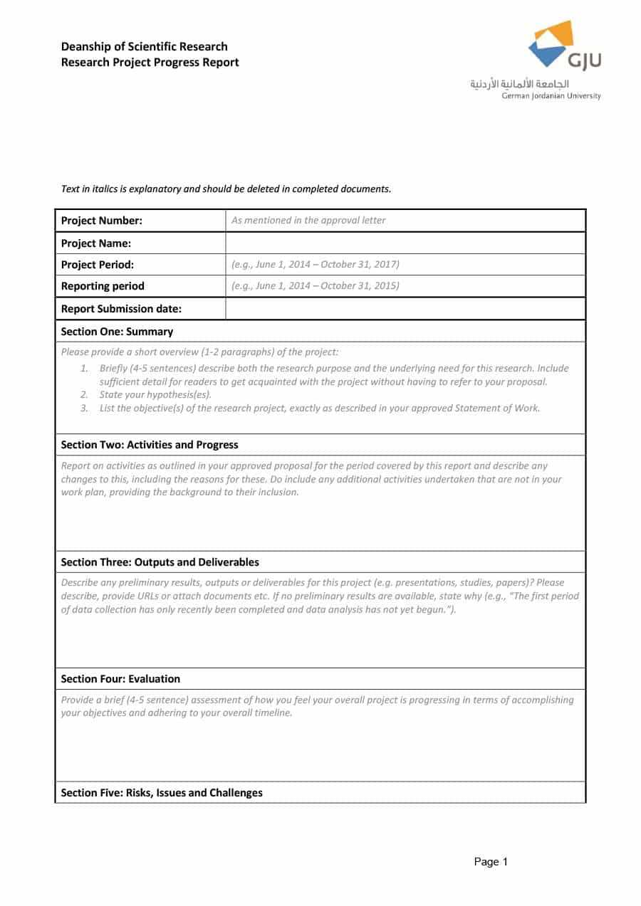 Research Project Progress Report Template - Atlantaauctionco Within Research Project Progress Report Template