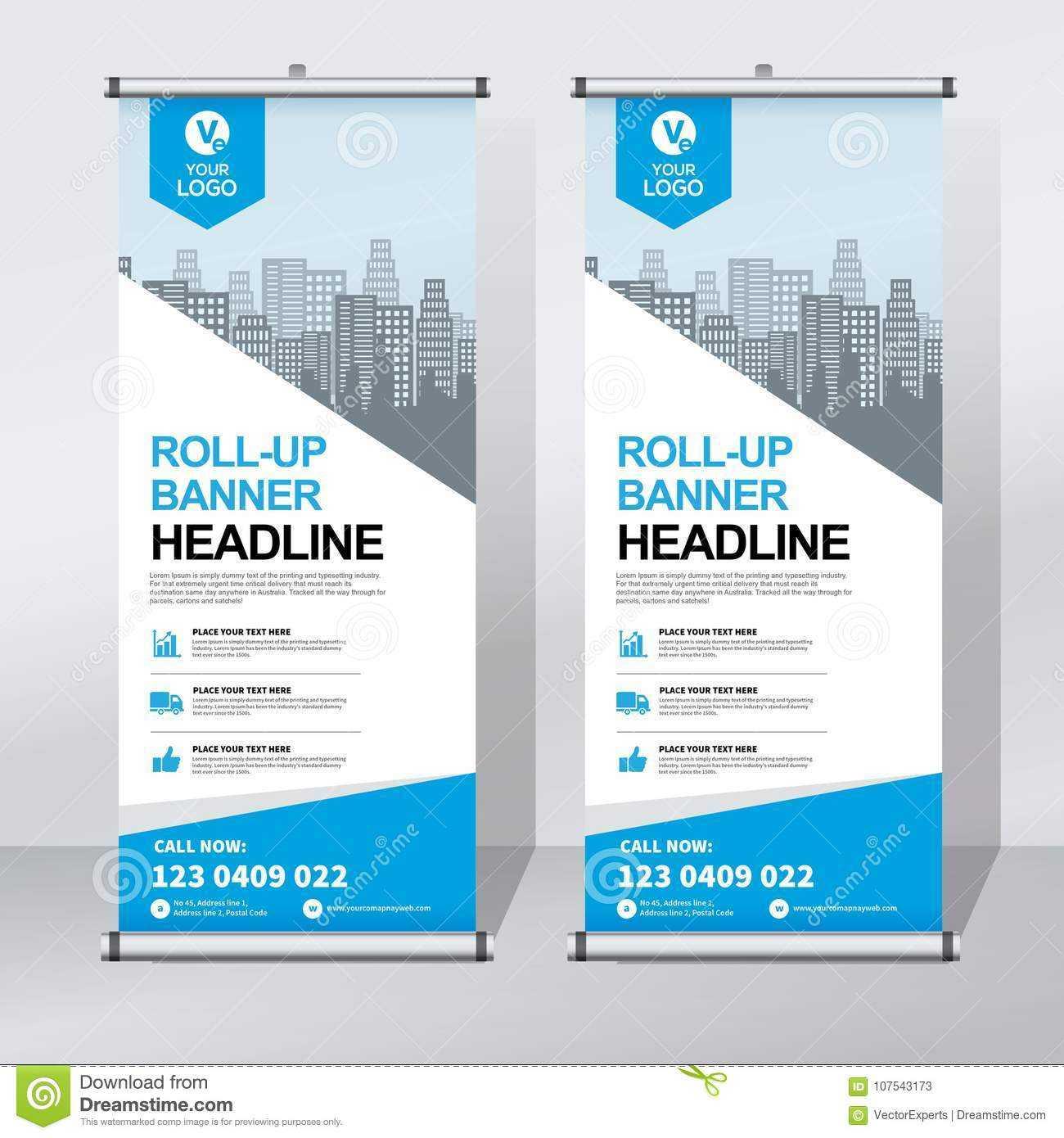 Roll Up Banner Design Template, Vertical, Abstract With Retractable Banner Design Templates