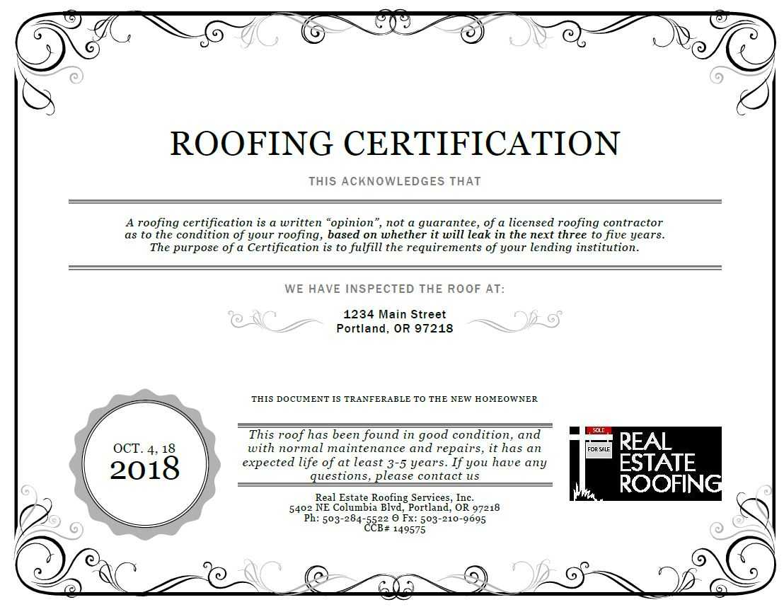 Roof Certification: Sample | Real Estate Roofing Pertaining To Roof Certification Template