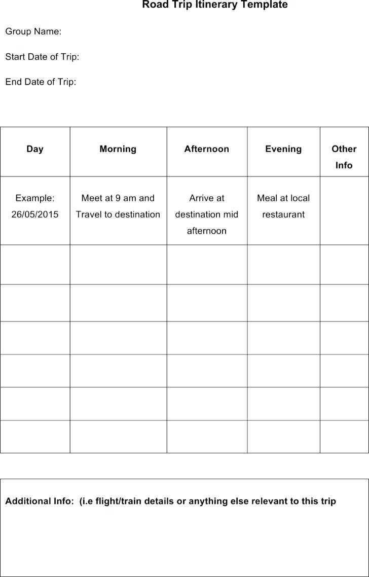 Sample Vacation Itinerary Template – Wovensheet.co Pertaining To Blank Trip Itinerary Template