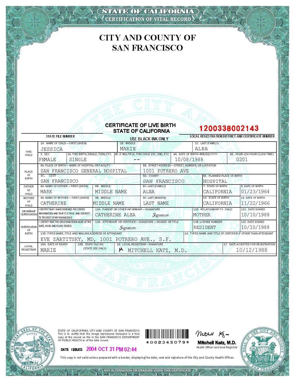 San Francisco Birth Certificate Template | Birth Certificate Pertaining To Novelty Birth Certificate Template