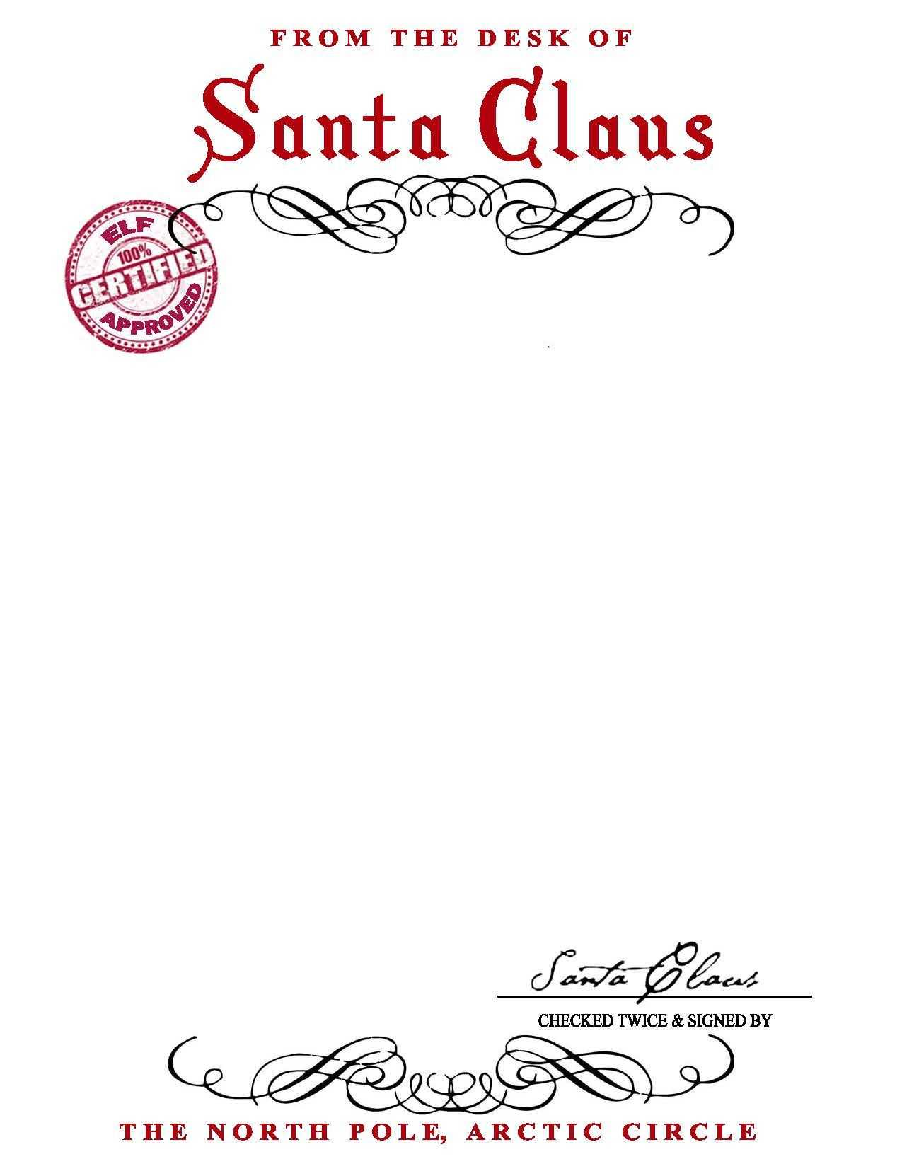 Santa Claus Letterhead.. Will Bring Lots Of Joy To Children Inside Letter From Santa Template Word