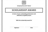 Scholarship Award Certificate Template   Scholarship for Academic Award Certificate Template