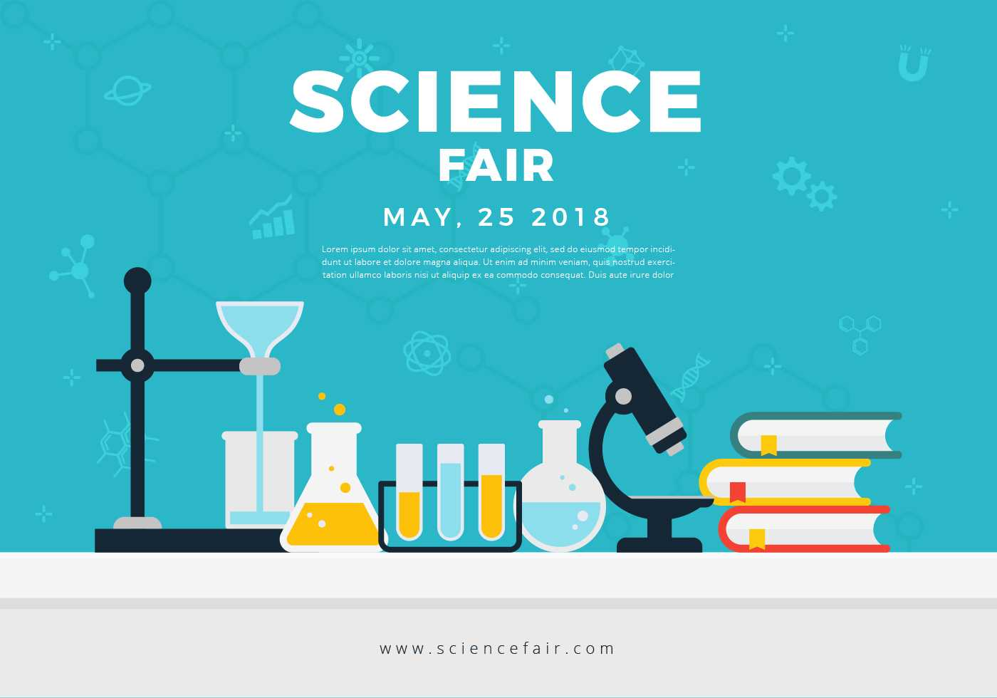 Science Fair Poster Banner - Download Free Vectors, Clipart Throughout Science Fair Banner Template