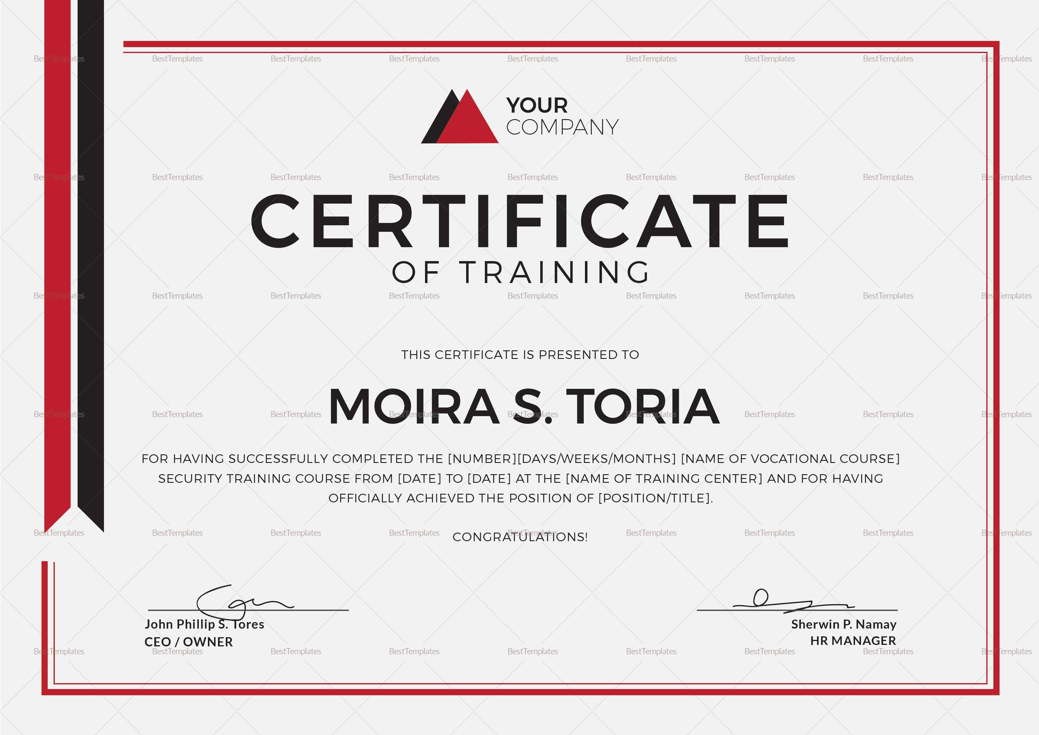 Security Training Certificate Template Throughout Template For Training Certificate