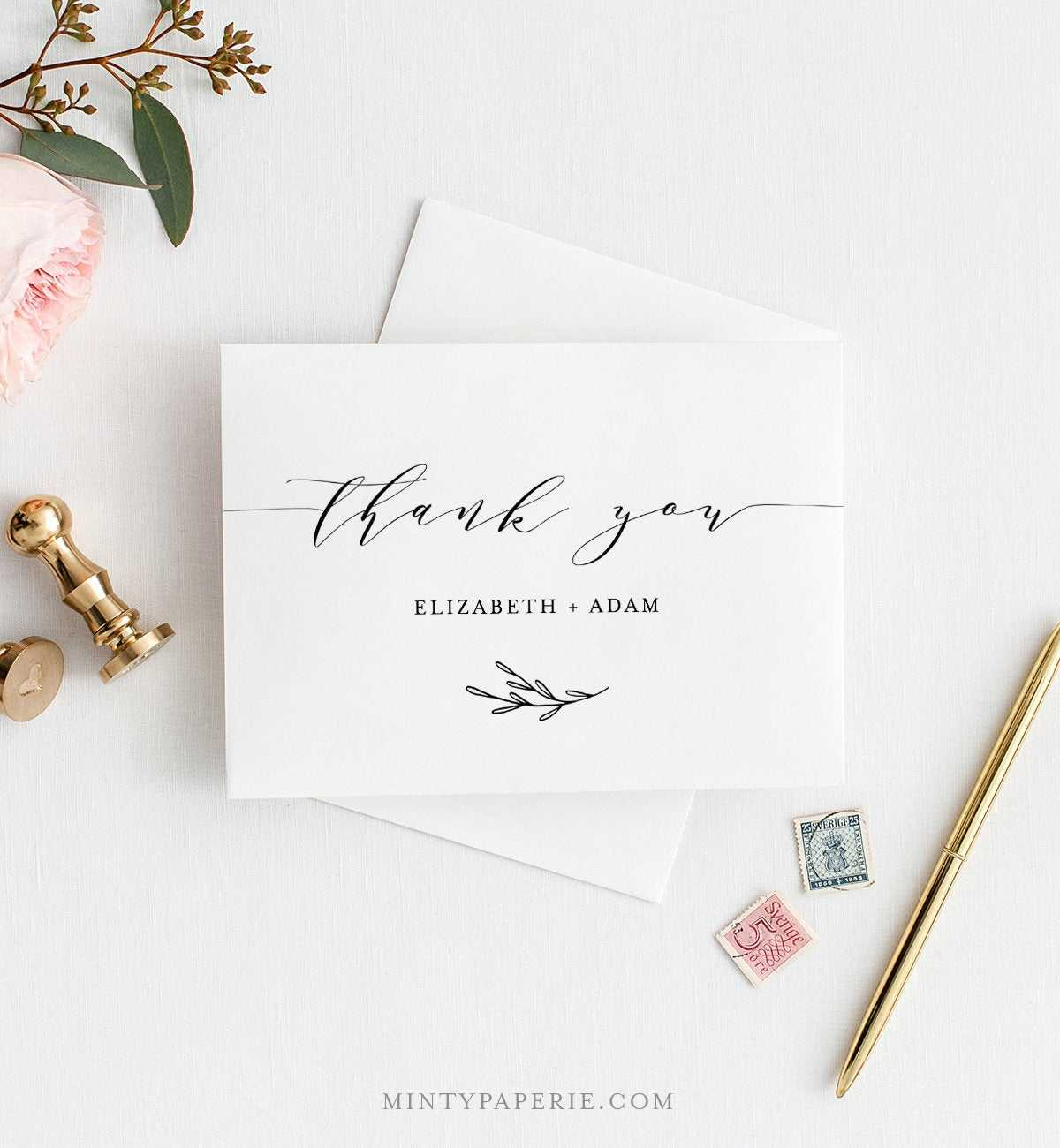 Self Editing Thank You Template, Folded Thank You Note In Thank You Note Card Template