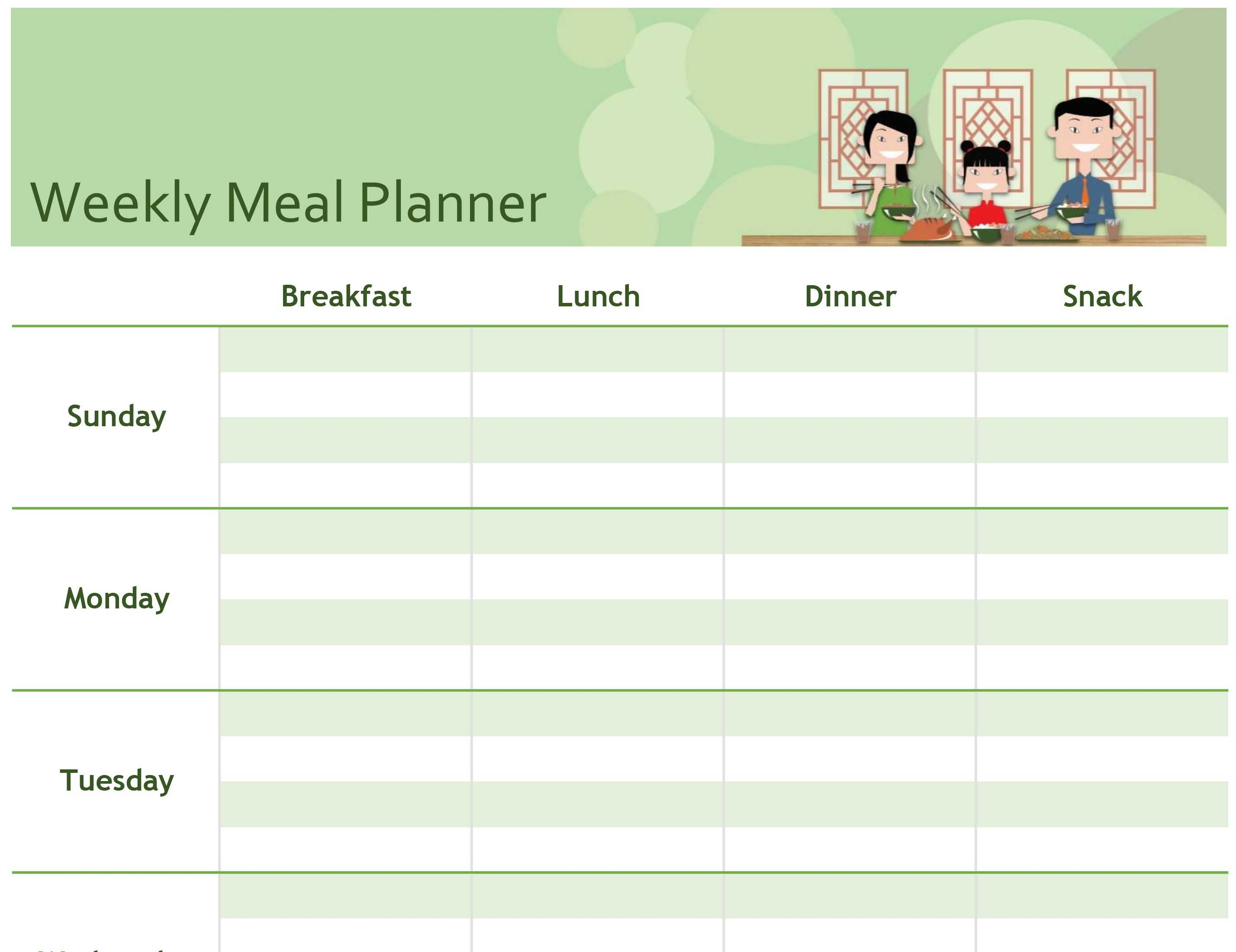 Simple Meal Planner Within Meal Plan Template Word