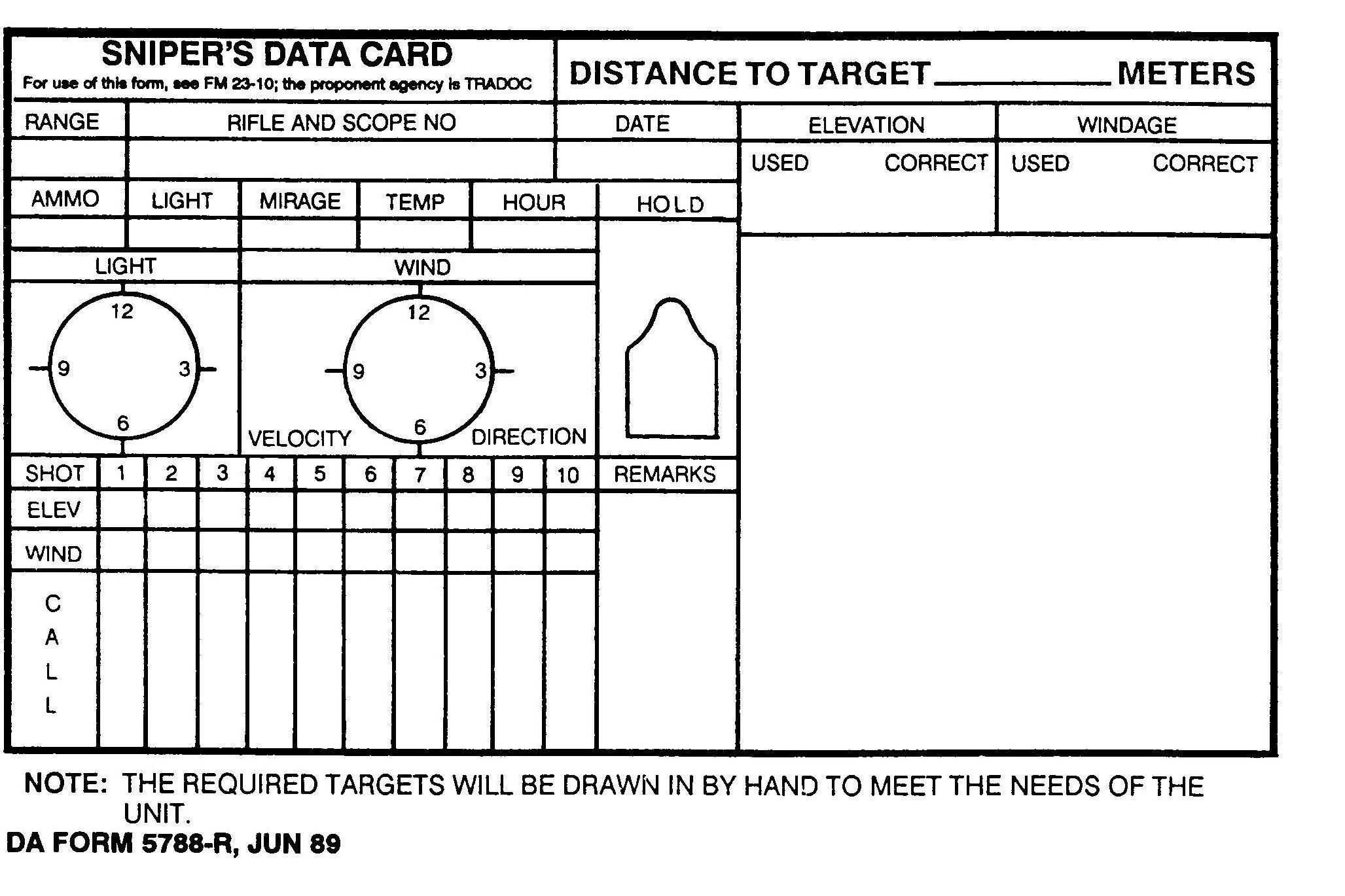 Sniper Data Card   Hunting   Range Shooter, Shooting Targets Pertaining To Dope Card Template