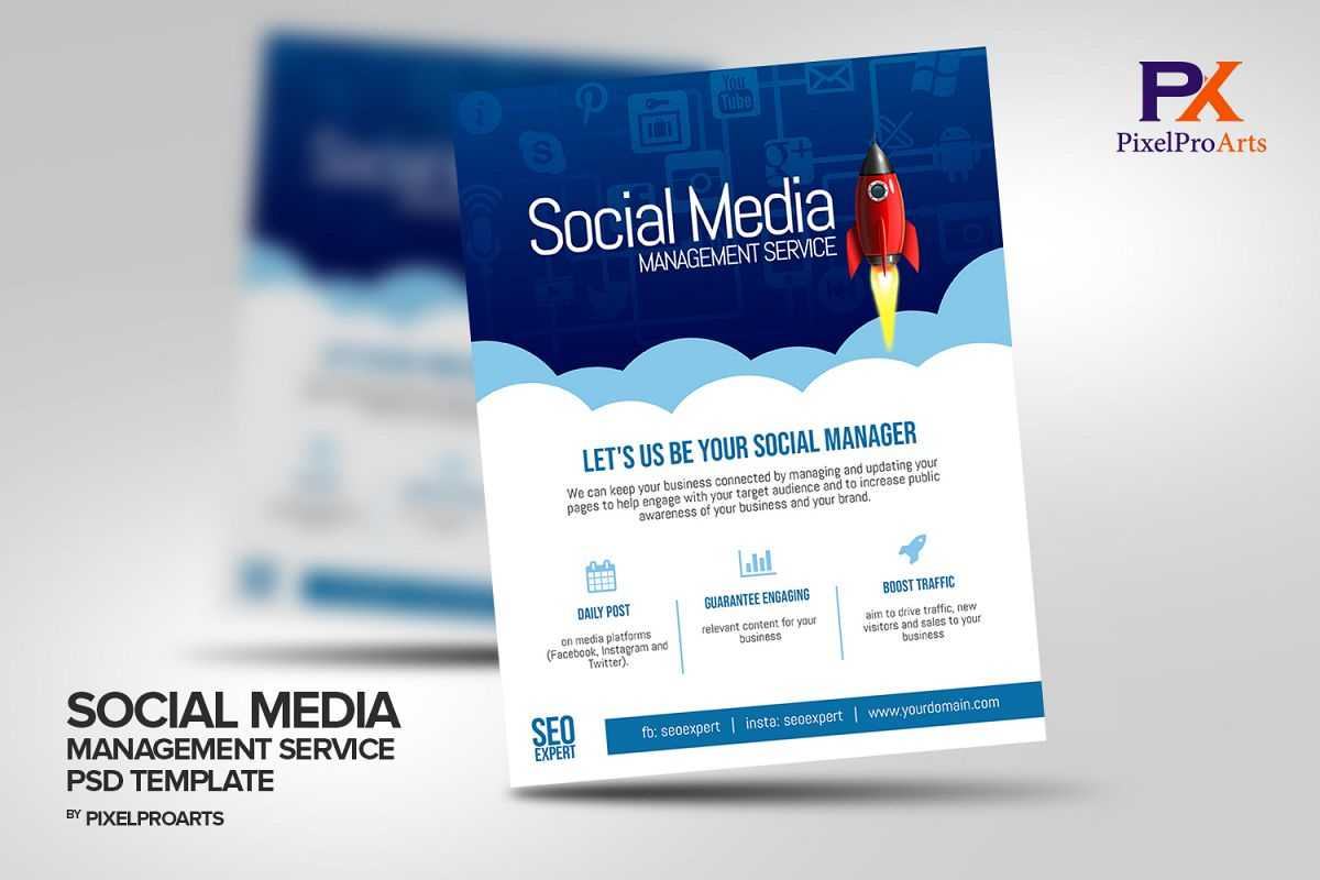 Social Media Management Service Flyer Template Within Social Media Brochure Template
