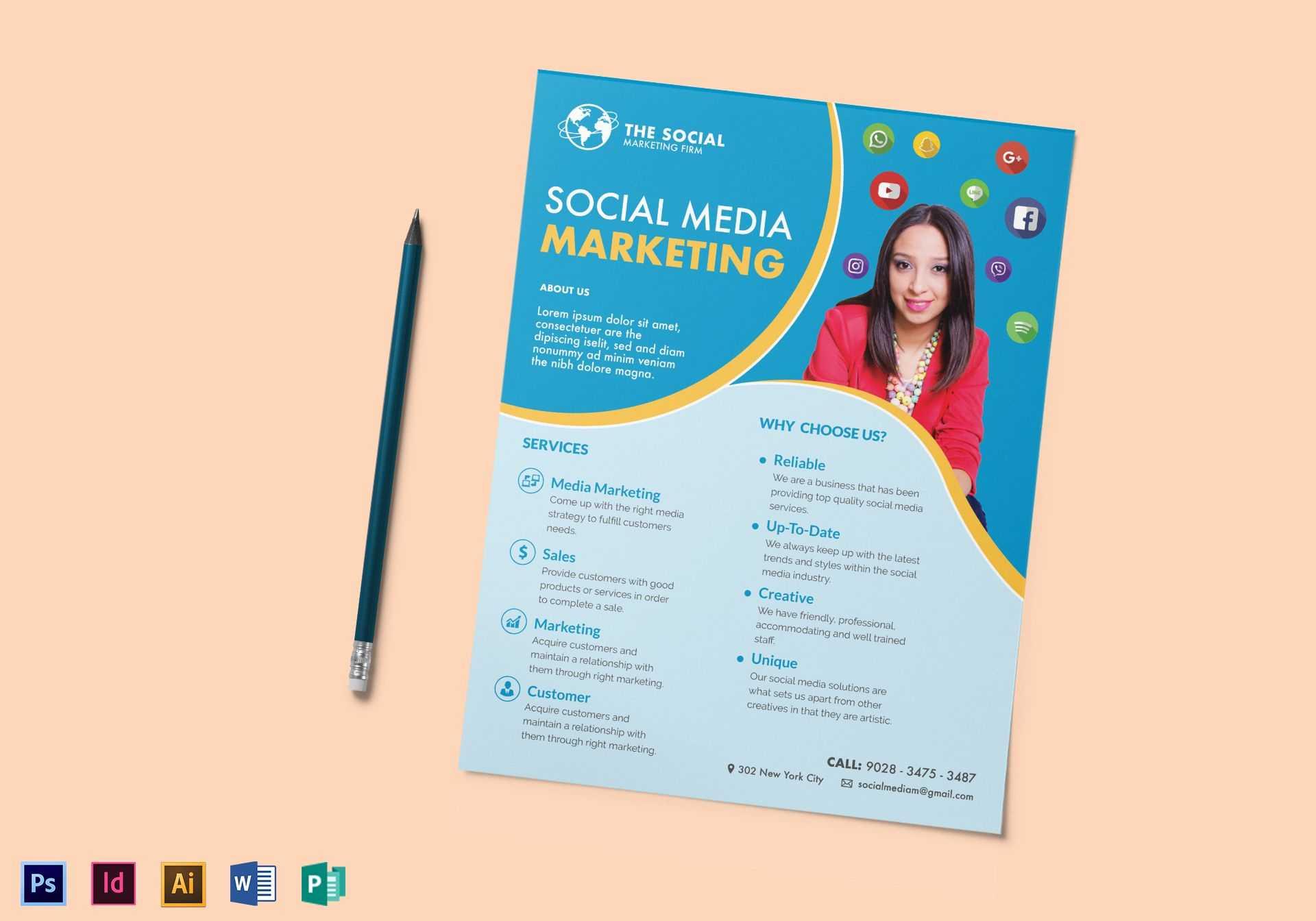 Social Media Marketing Flyer Template With Regard To Social Media Brochure Template