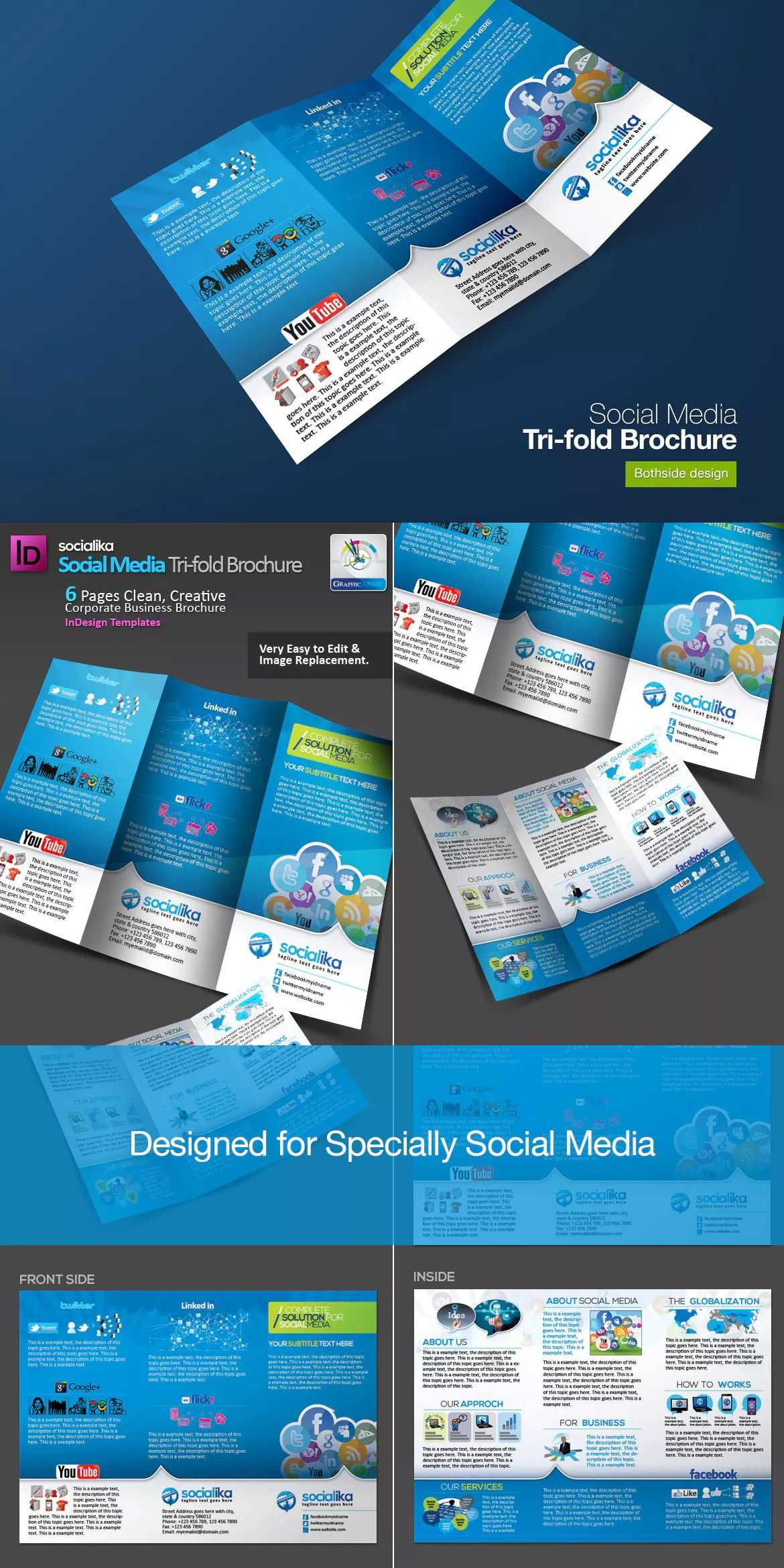 Social Media Tri Fold Brochure Template Indd | Bi Fold Throughout Social Media Brochure Template