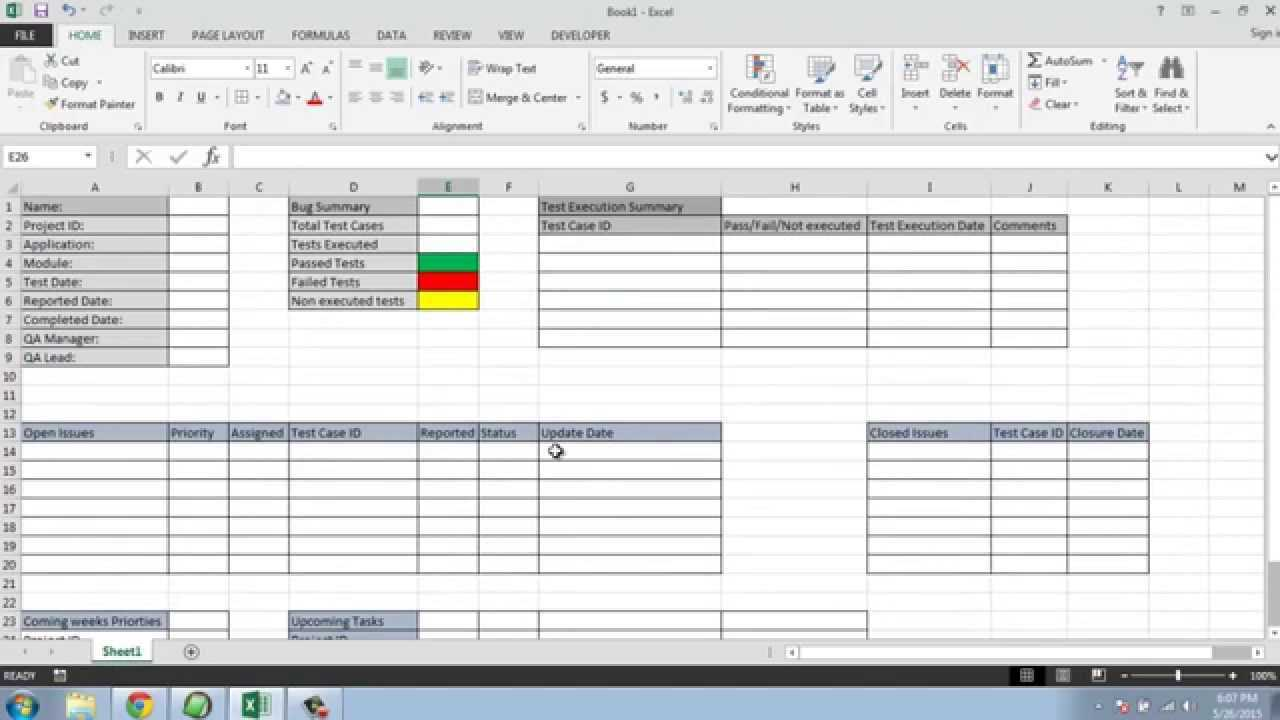 Software Testing Weekly Status Report Template With Test Summary Report Excel Template