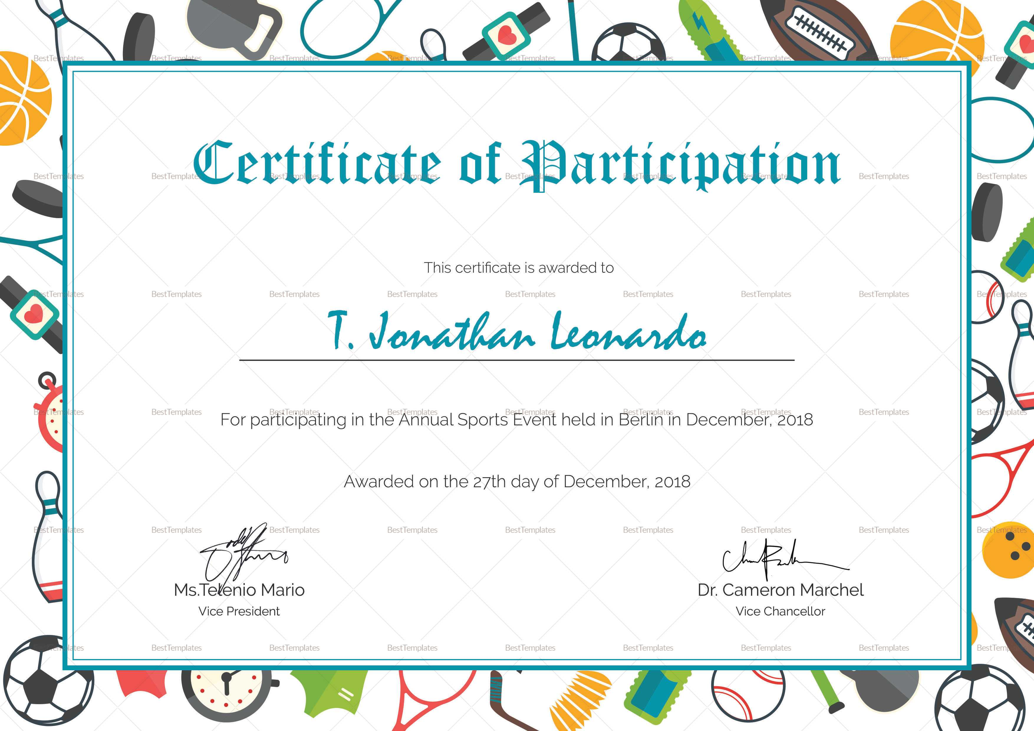 Sports Participation Certificate Template Within Athletic Certificate Template