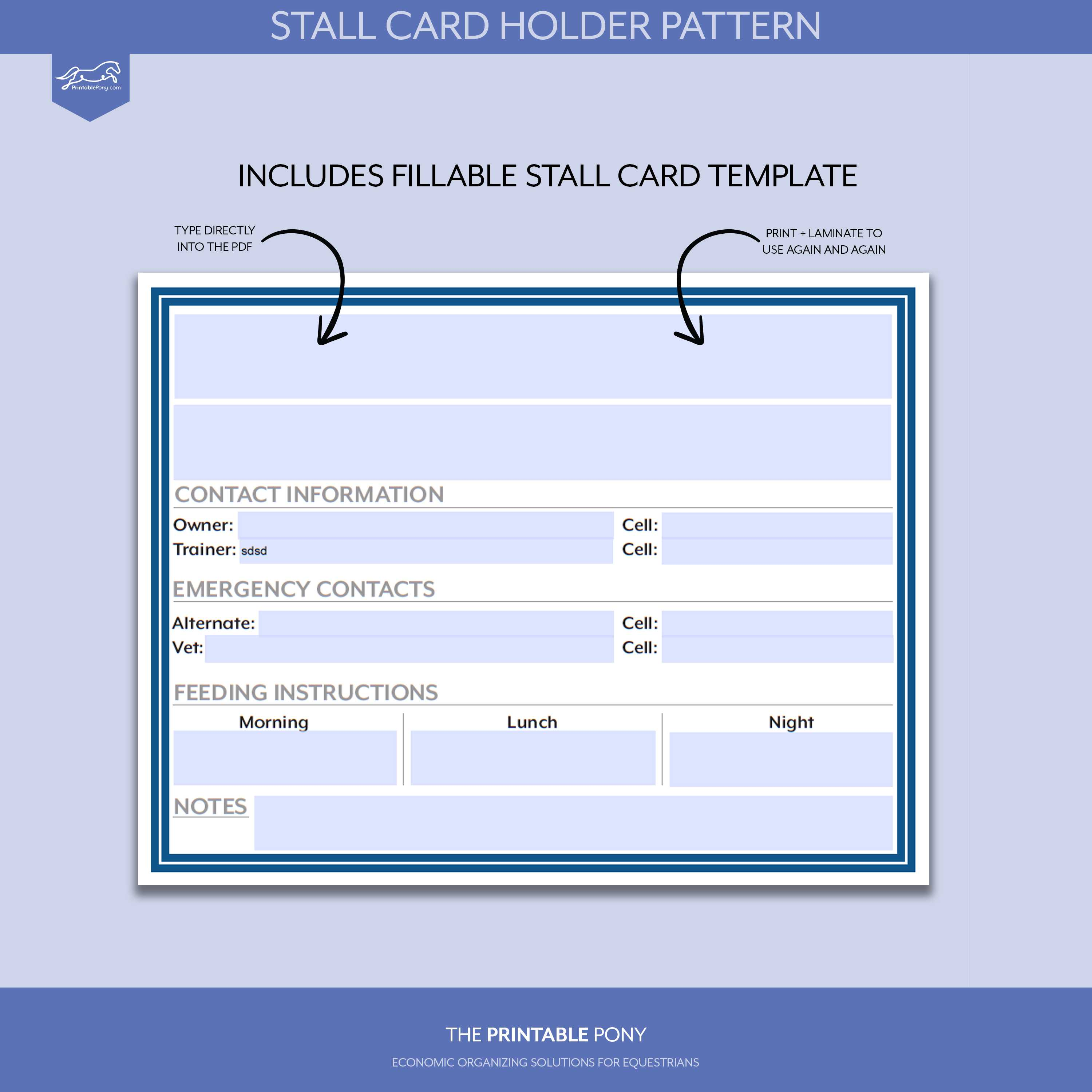 Stall Card Holder Pattern + Printable Stall Card Regarding Horse Stall Card Template
