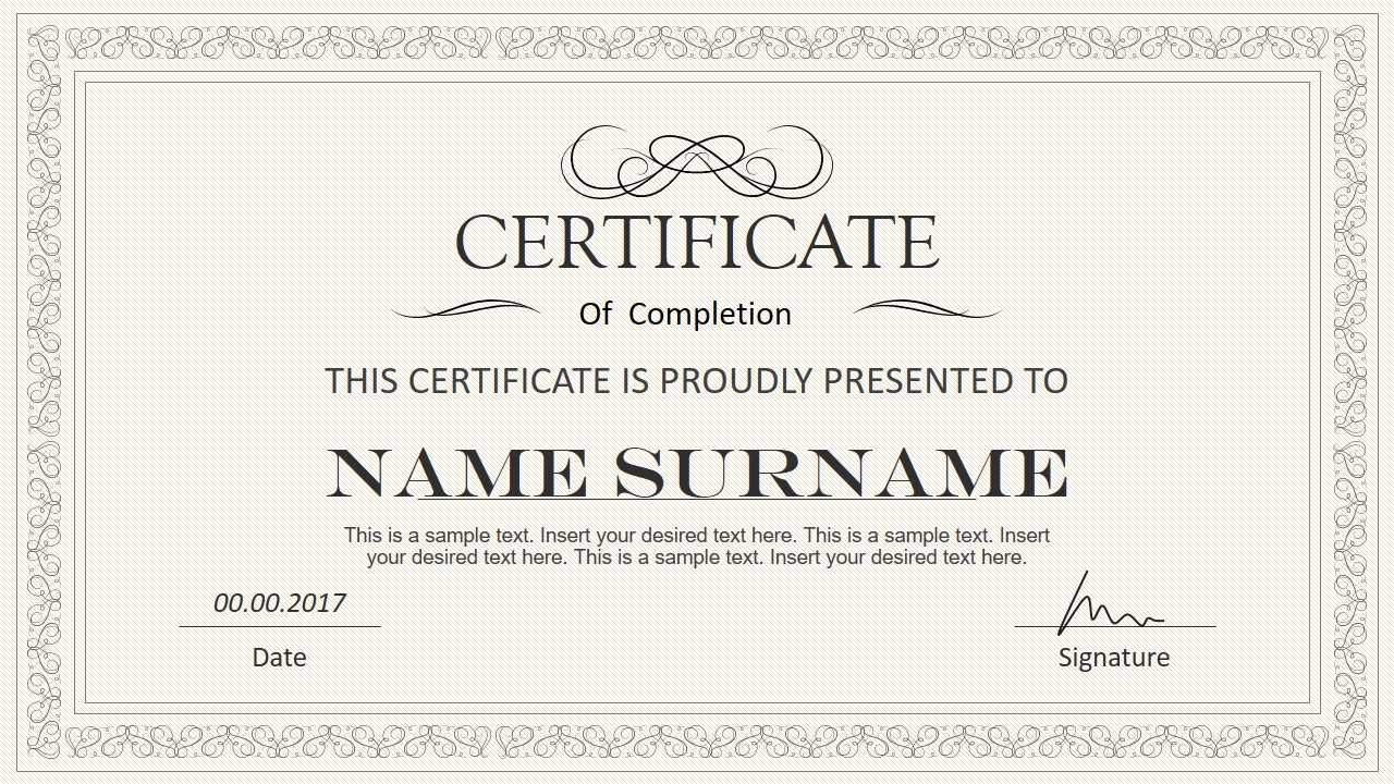 Stylish Certificate Powerpoint Templates Pertaining To Award Certificate Template Powerpoint