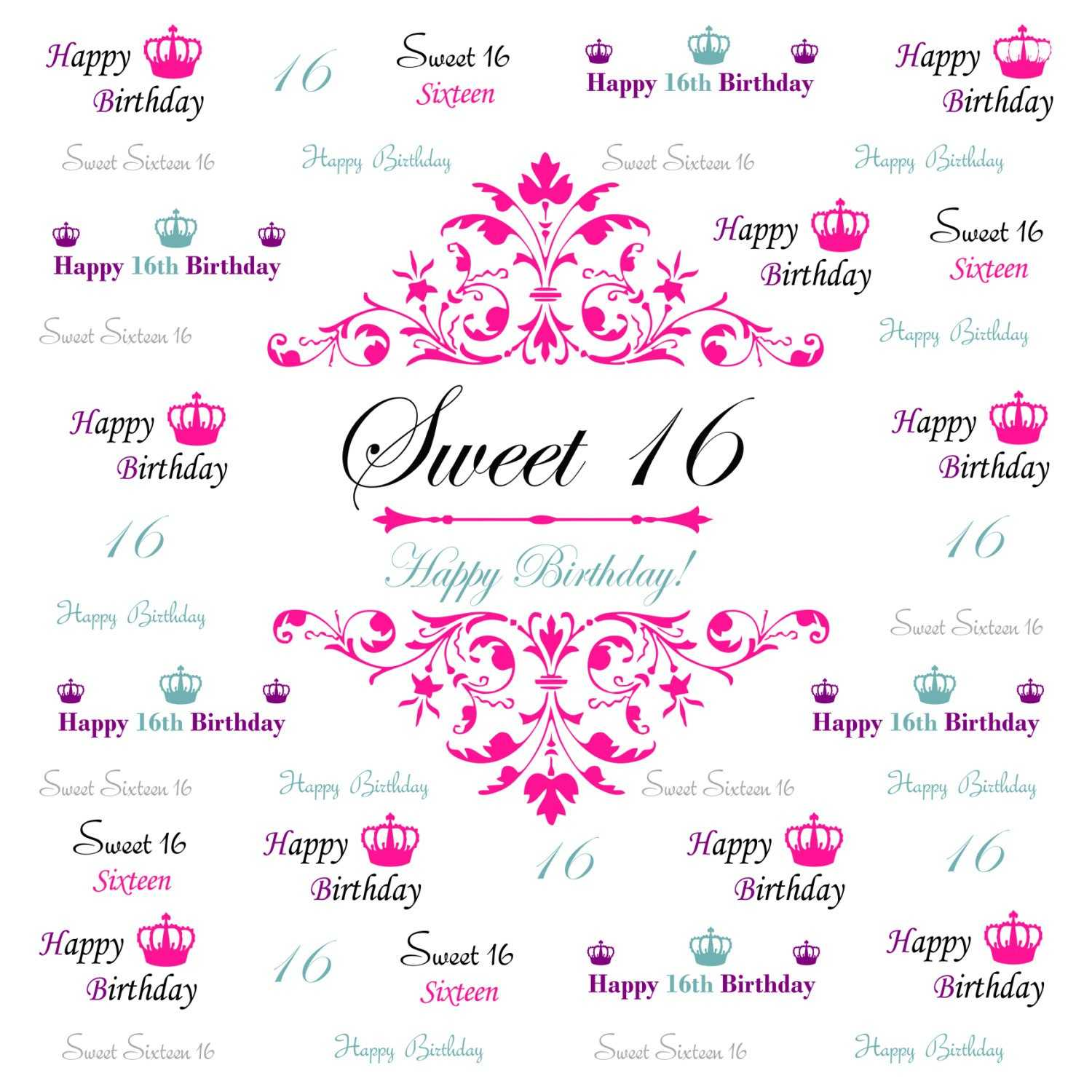 Sweet 16 Banner Template - Atlantaauctionco With Sweet 16 Banner Template