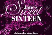 Sweet Sixteen Glitter Party Invitation Flyer Template Design with regard to Sweet 16 Banner Template