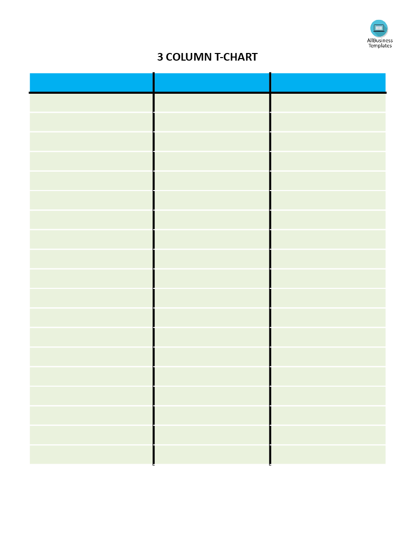 T Chart With 3 Columns | Templates At Allbusinesstemplates For 3 Column Word Template