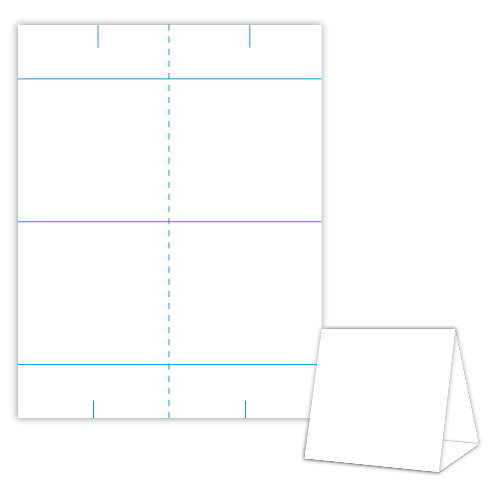 Table Tent Design Template Blank Table Tent - White - Cover Pertaining To Blanks Usa Templates