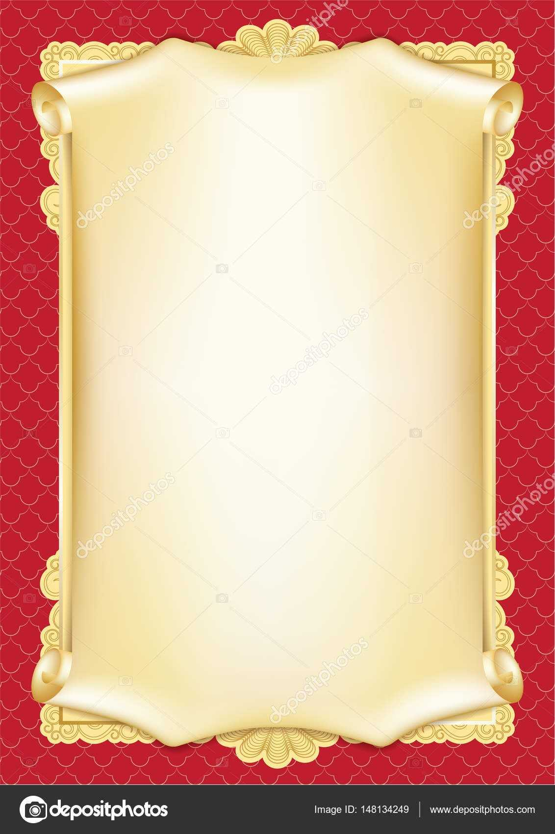 Template For Diploma, Certificate, Card With Scroll And With Scroll Certificate Templates
