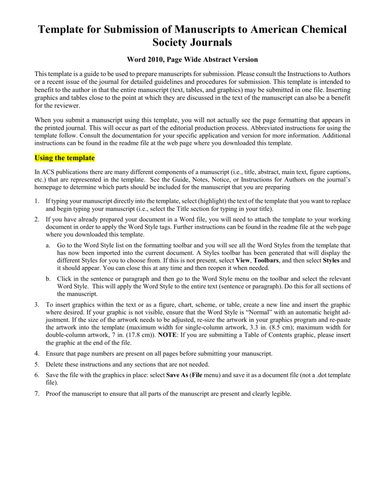 Template For Electronic Submission To Acs Journals In Scientific Paper Template Word 2010