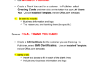 Thank You Card & Gift Certificate Microsoft Publisher . with Gift Certificate Template Publisher