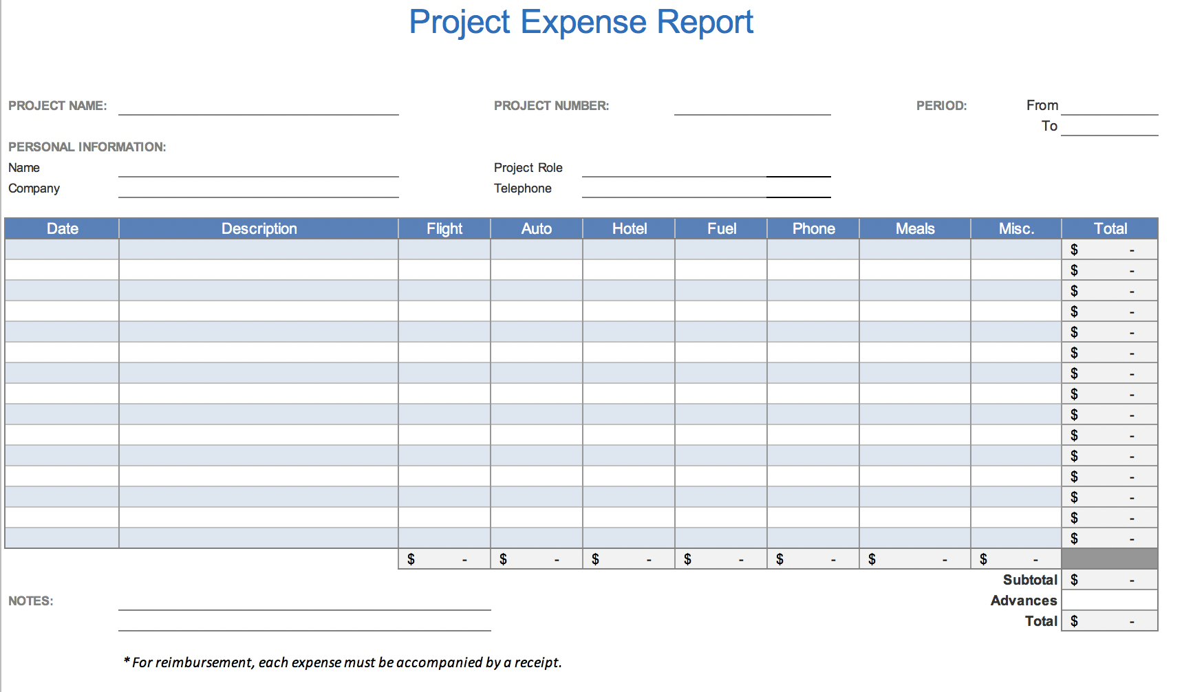 The 7 Best Expense Report Templates For Microsoft Excel For Monthly Expense Report Template Excel