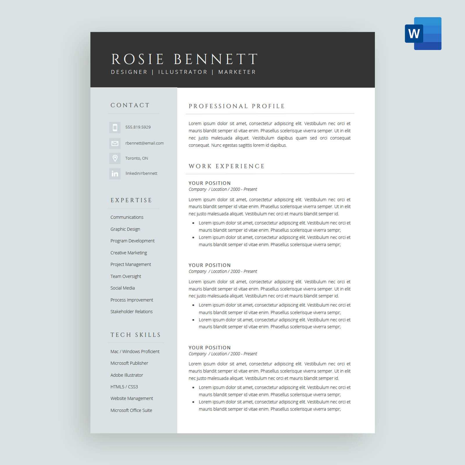 The 'rosie' Resume / Cv Template Package For Microsoft™ Word Pertaining To How To Make A Cv Template On Microsoft Word