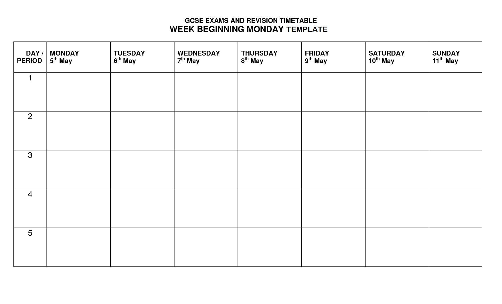 Timetable Template | Timetable Template, Class Schedule Throughout Blank Revision Timetable Template
