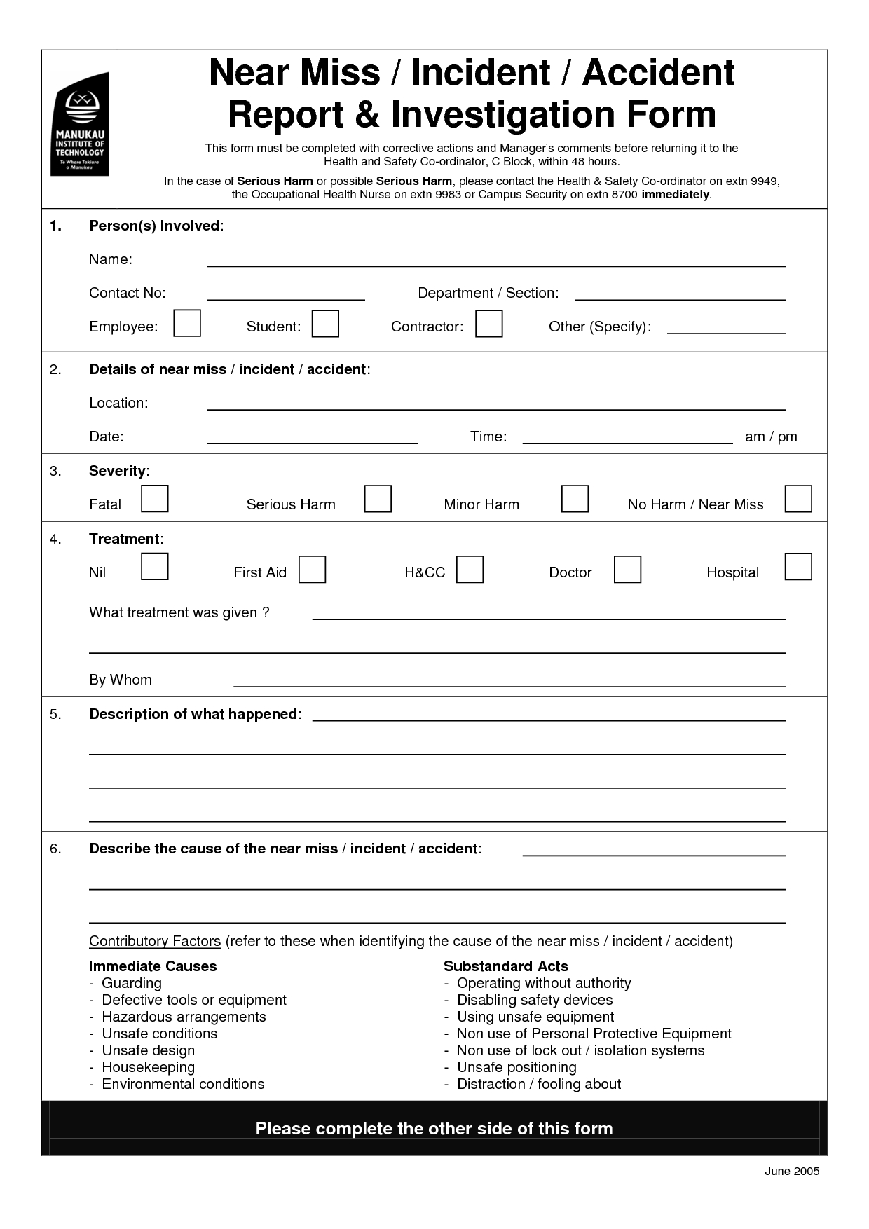 Traffic Ident Investigation Report Format Form Hse Incident Intended For Ohs Incident Report Template Free