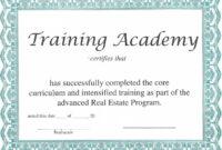 Training Certificate Template – Certificate Templates pertaining to Template For Training Certificate