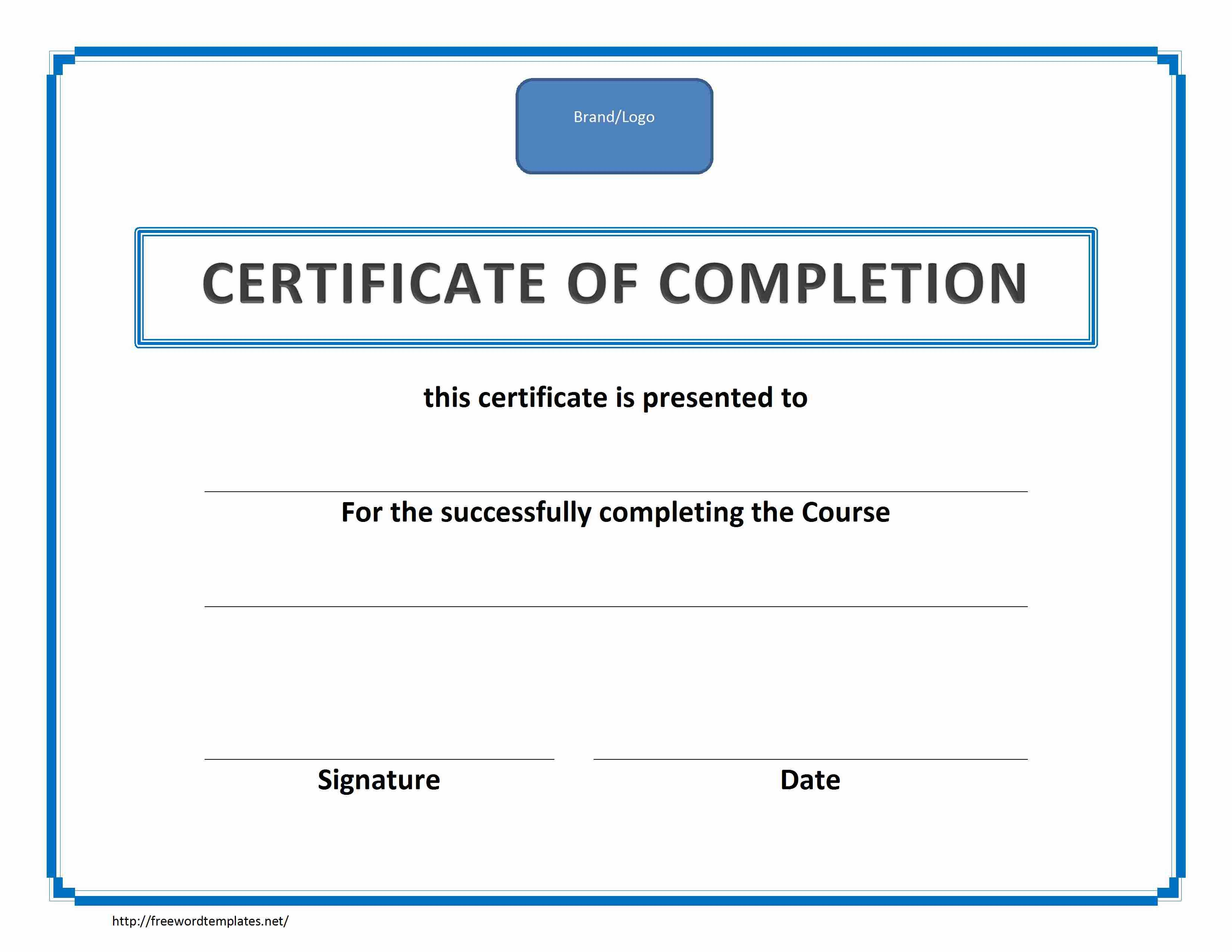 Training Certificate Template Word Format Intended For Training Certificate Template Word Format