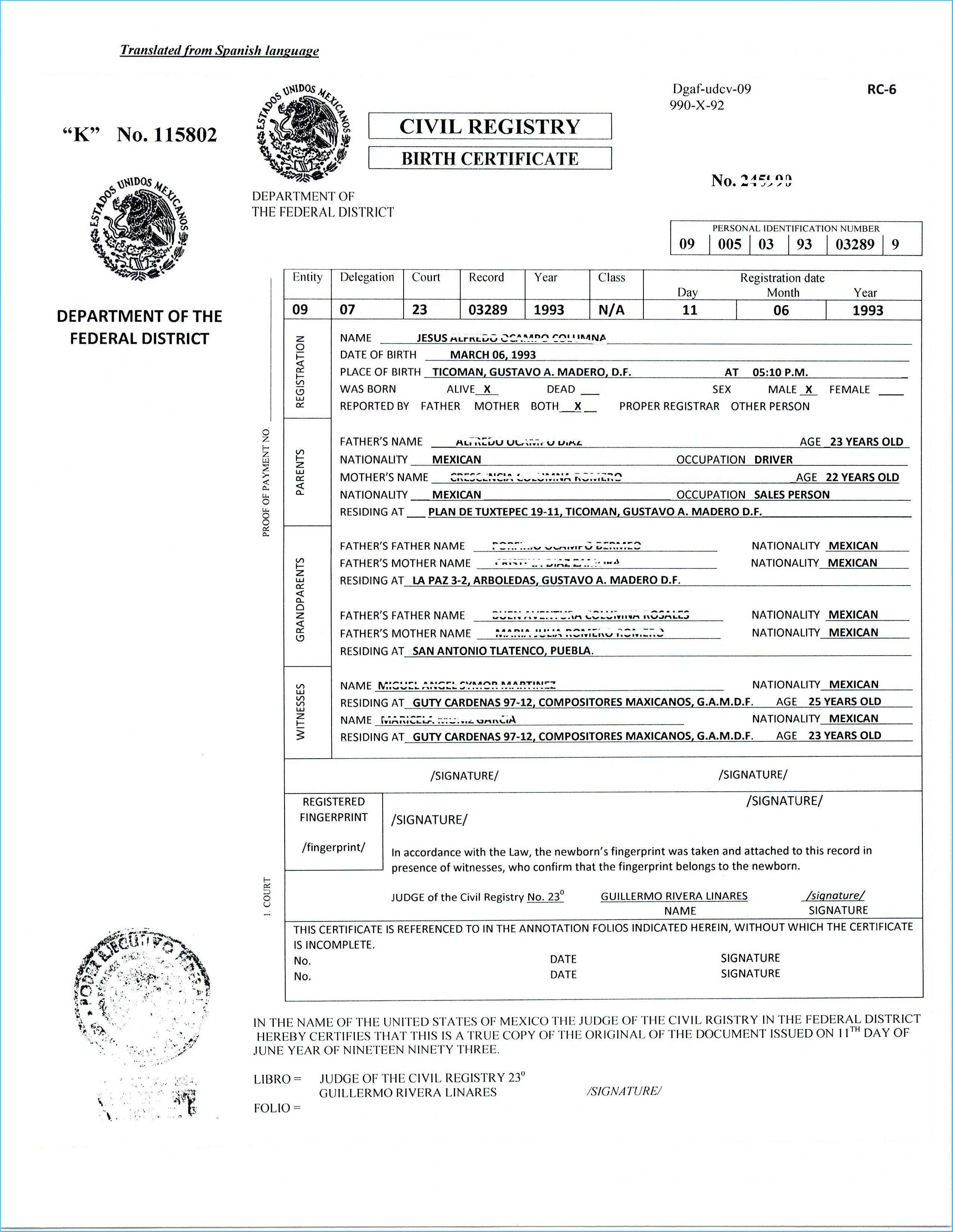Translate Mexican Birth Certificate Free Template Translated Intended For Uscis Birth Certificate Translation Template