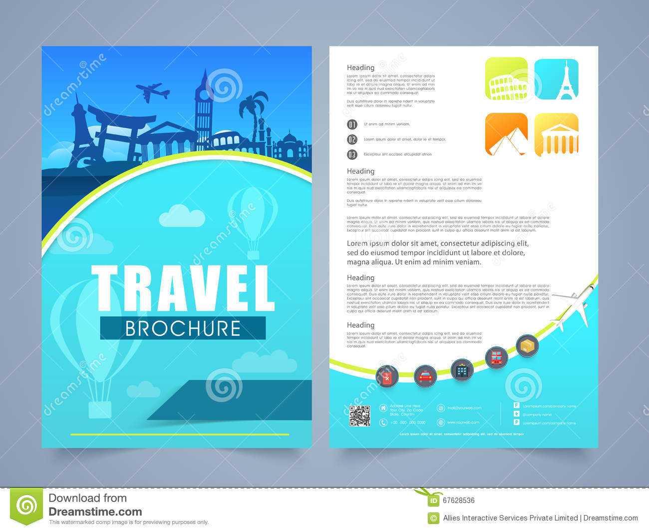 Travel Brochure, Template Or Flyer Design. Stock For Travel And Tourism Brochure Templates Free