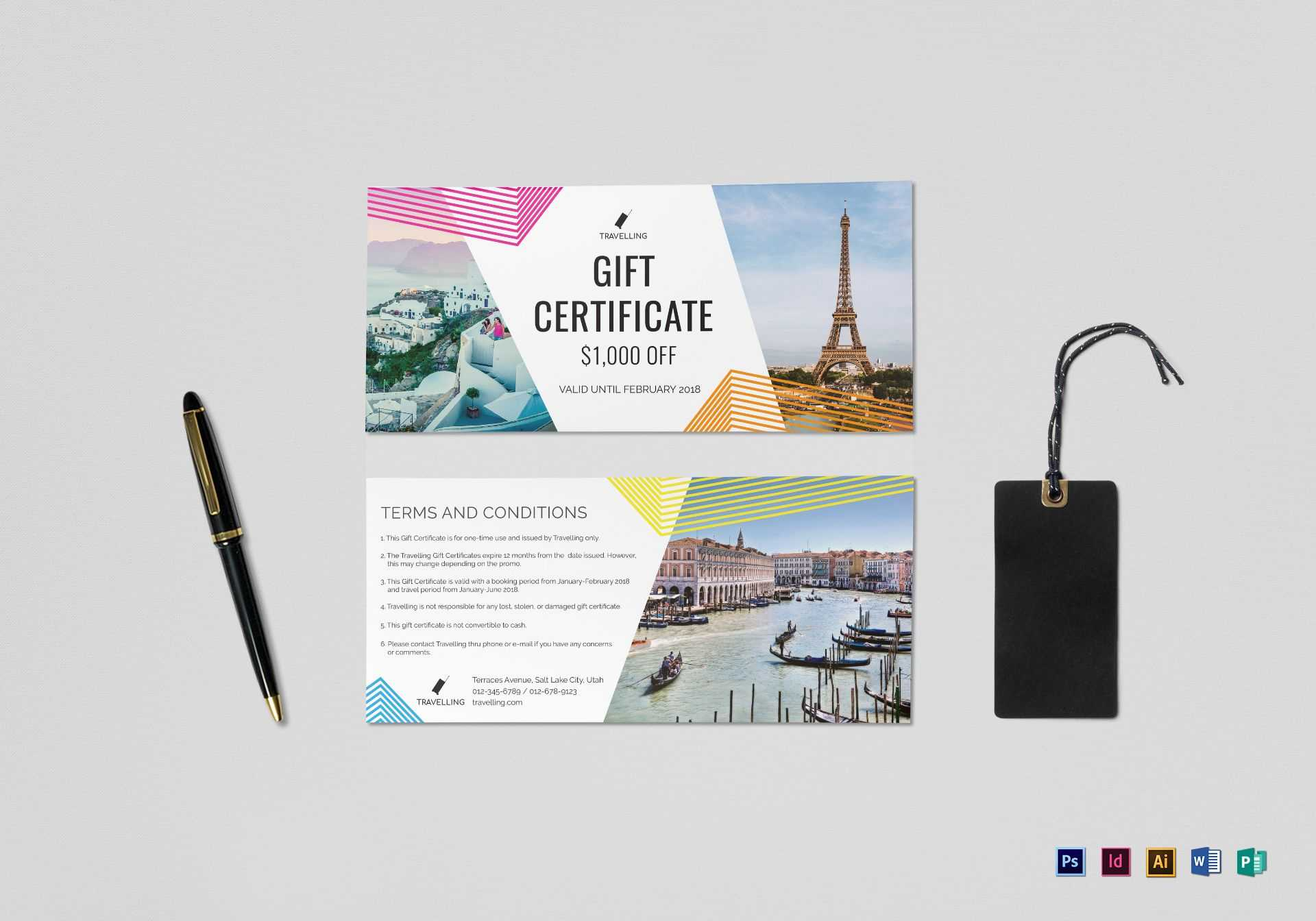 Travel Gift Certificate Template For Gift Certificate Template Publisher