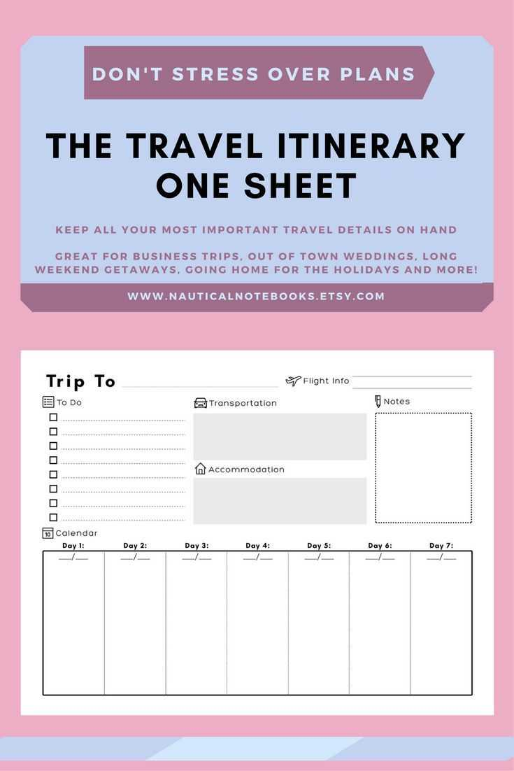 Travel Itinerary Template | Family Travel Planner Inside Blank Trip Itinerary Template