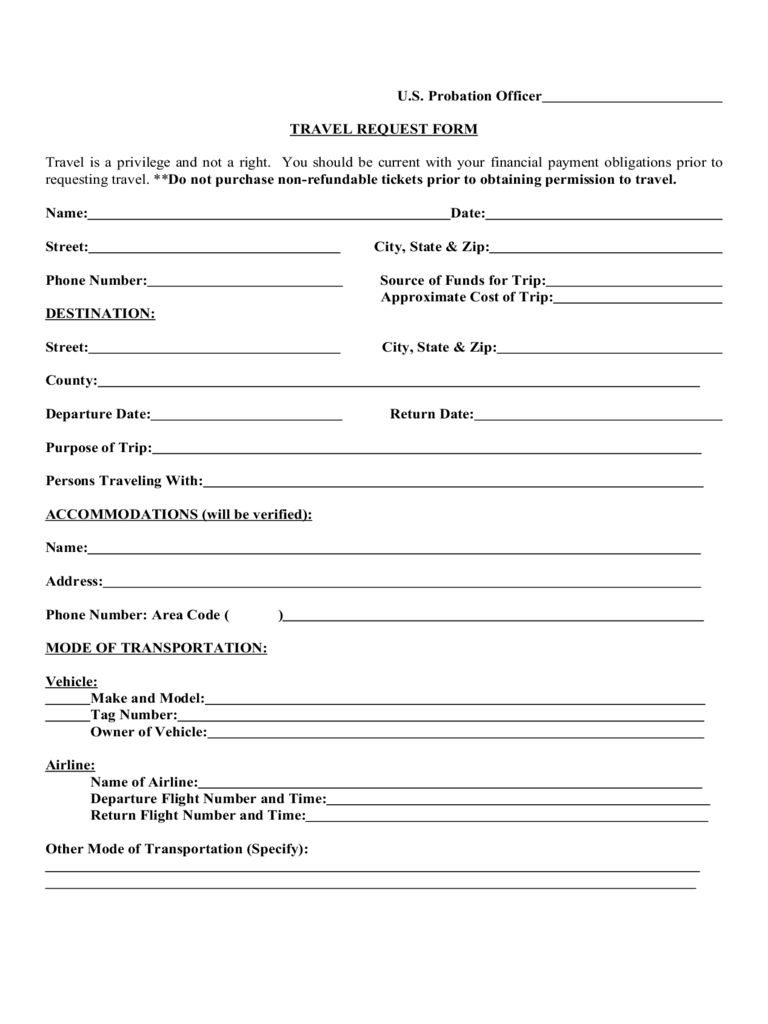 Travel Request Form - 2 Free Templates In Pdf, Word, Excel Regarding Travel Request Form Template Word
