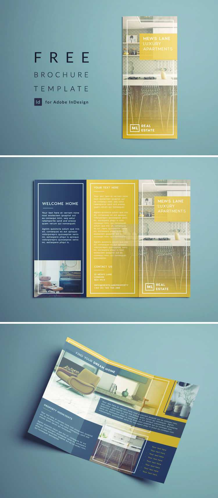 Tri Fold Brochure | Free Indesign Template Within Z Fold Brochure Template Indesign