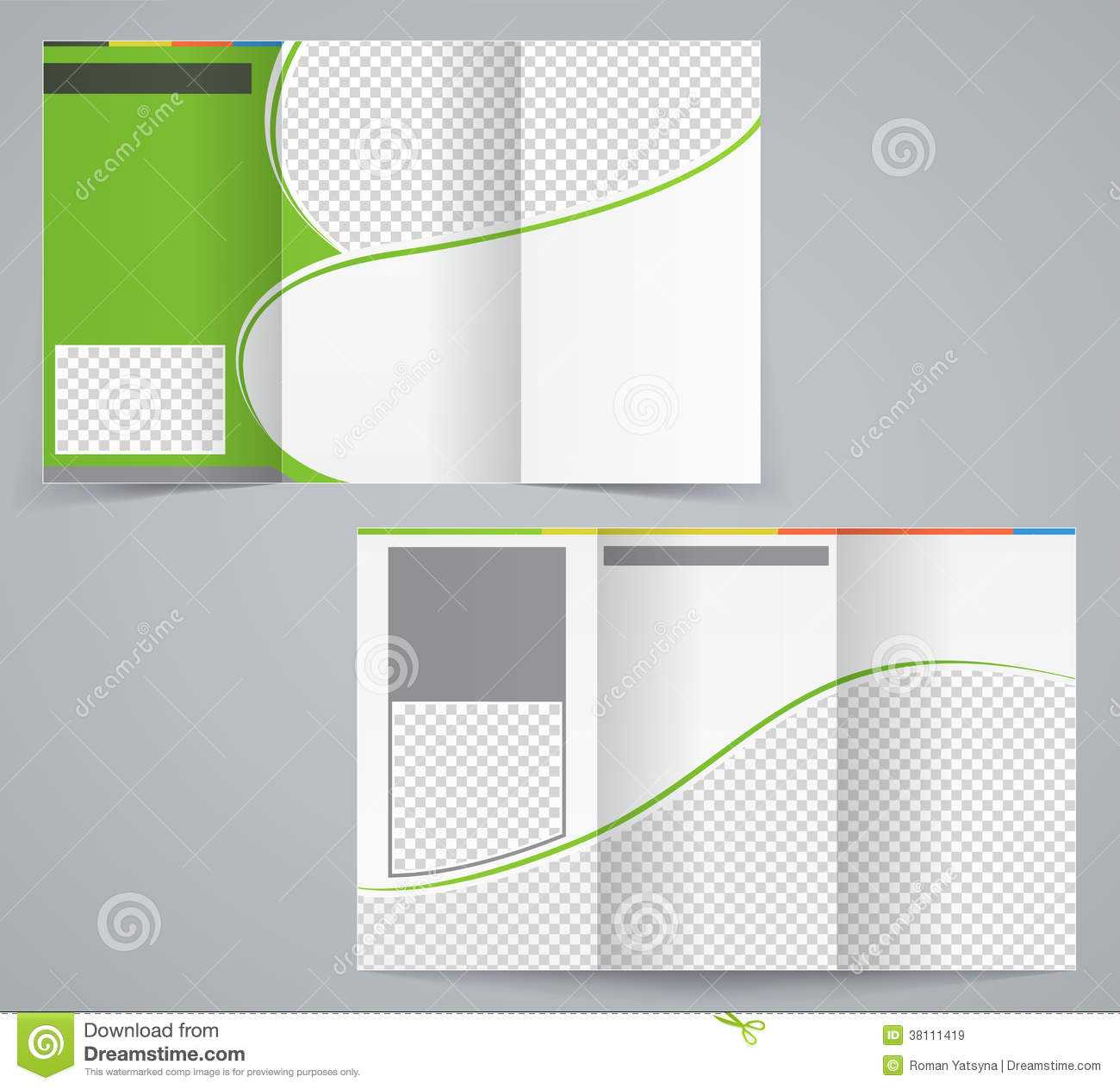 Tri Fold Business Brochure Template, Vector Green Stock Inside Illustrator Brochure Templates Free Download