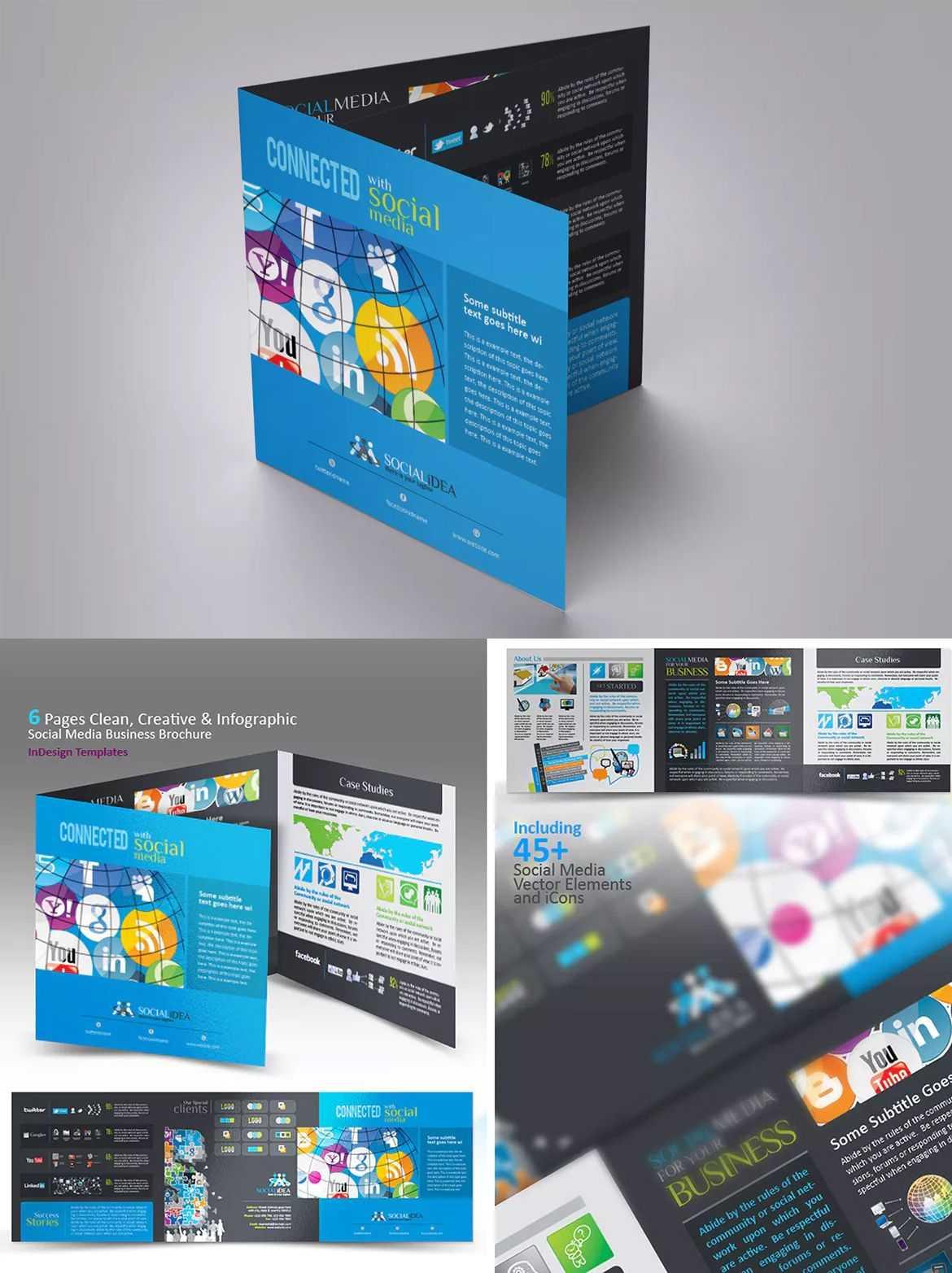 Tri Fold Social Media Brochure Template Indesign Indd With Regard To Social Media Brochure Template