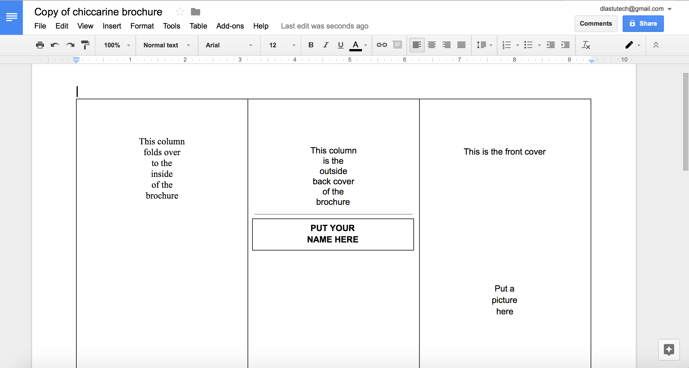 Tutorial: Making A Brochure Using Google Docs From A Intended For Brochure Templates For Google Docs