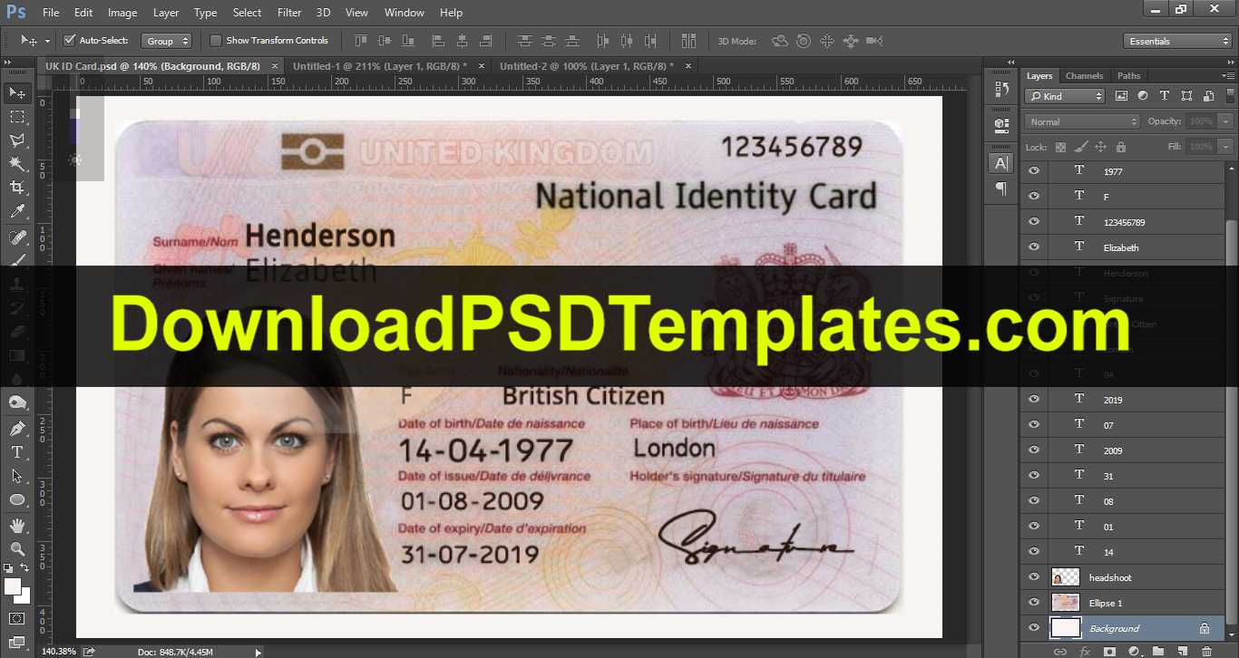 United Kingdom National Identity Card Template [Uk Id Card] In French Id Card Template