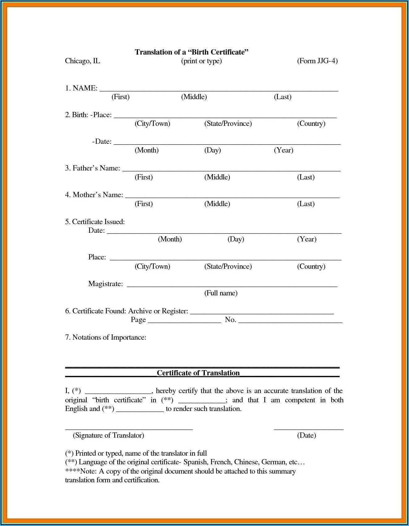 Uscis Birth Certificate Translation Template #10036 With Uscis Birth Certificate Translation Template