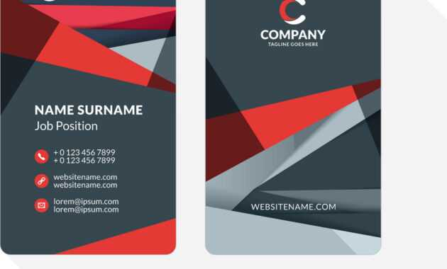 Vertical Double-Sided Business Card Template With with regard to Double Sided Business Card Template Illustrator