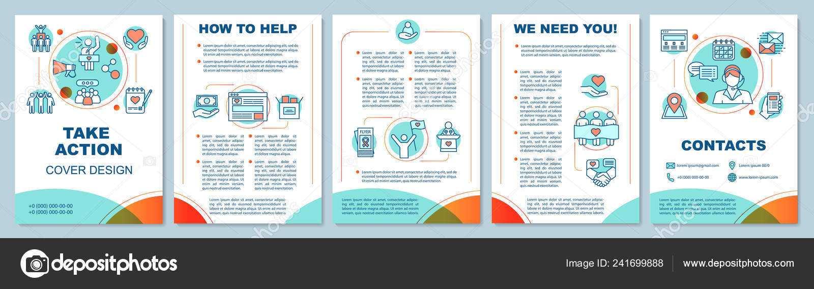 Volunteering Activity Brochure Template Layout Take Action with Volunteer Brochure Template