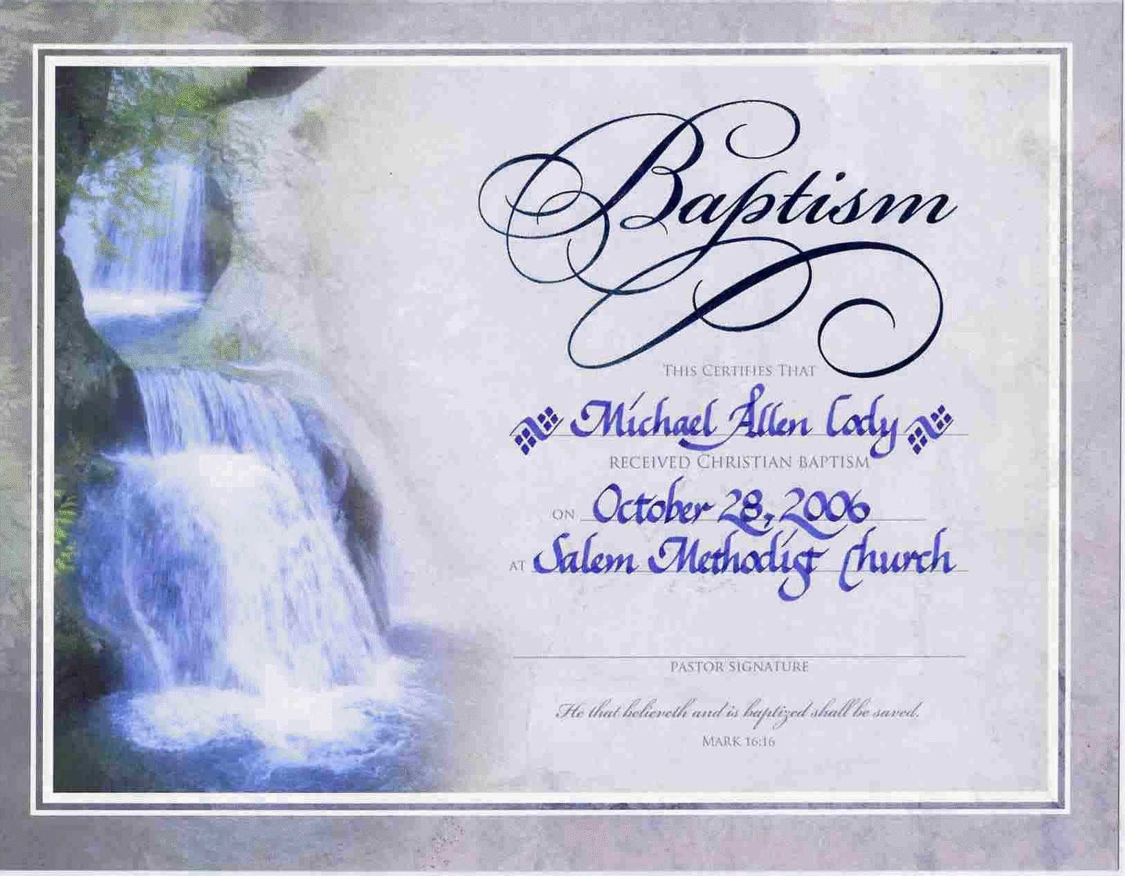 Water Baptism Certificate Templateencephaloscom With Christian Baptism Certificate Template