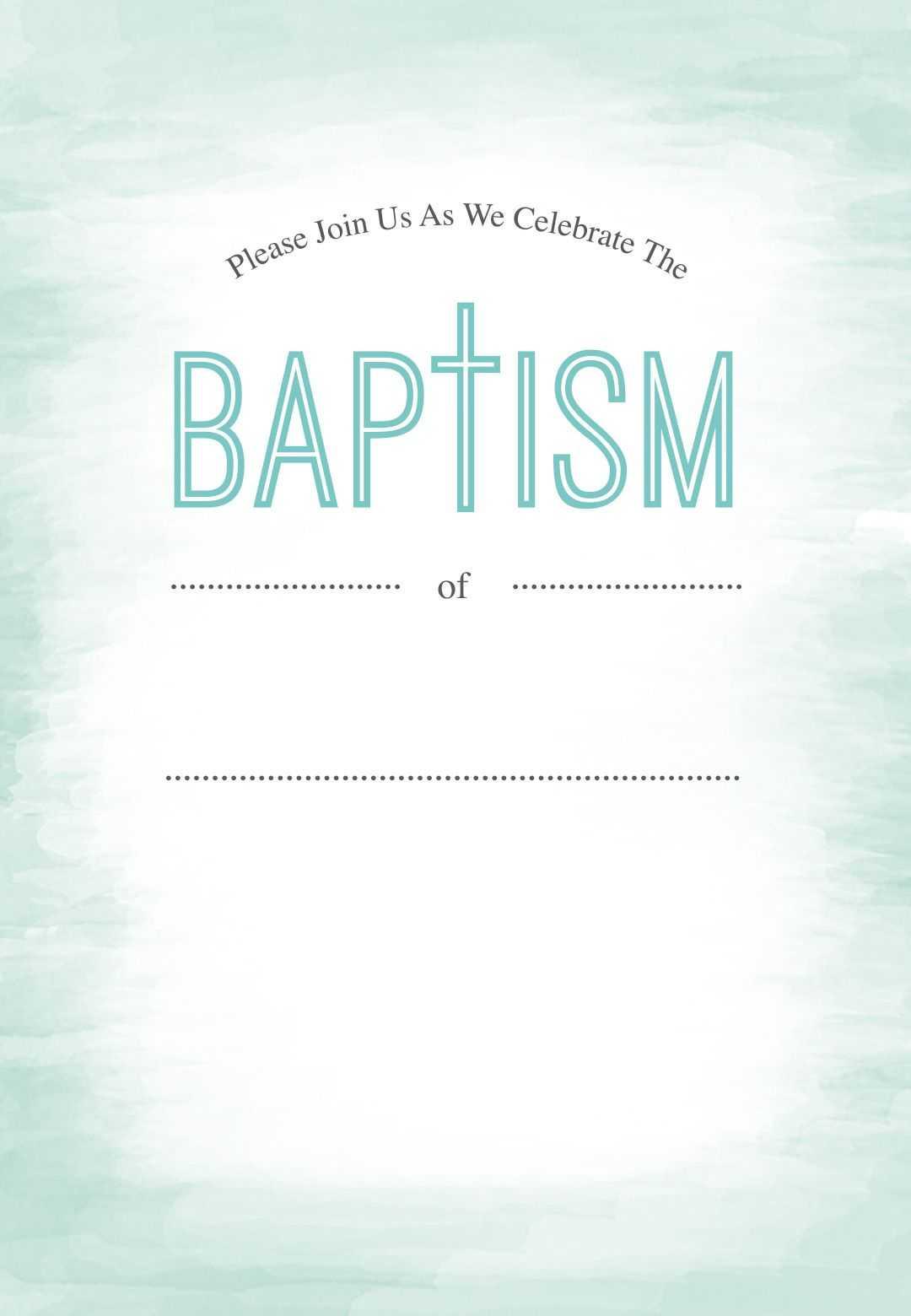 Water - Free Printable Baptism & Christening Invitation Intended For Blank Christening Invitation Templates