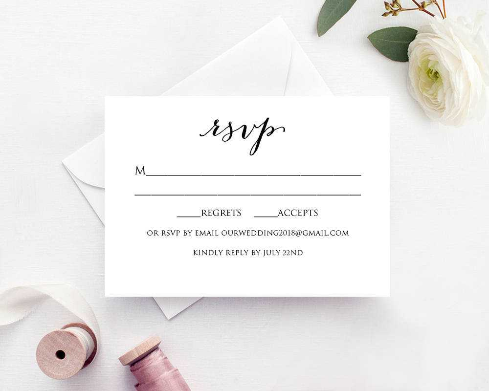 Wedding Rsvp Card Template Throughout Template For Rsvp Cards For Wedding
