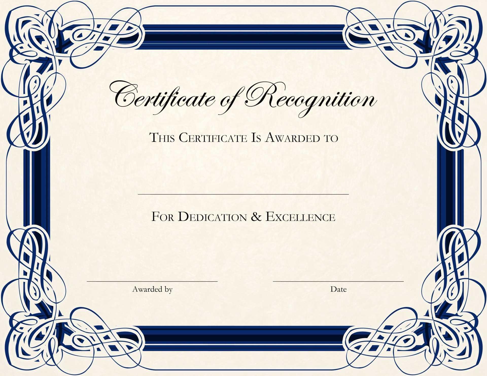 Wonderful Free Printable Certificate Templates Template With Certificate Templates For Word Free Downloads